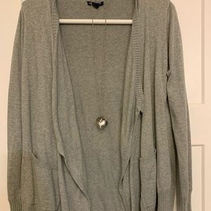 Grey Gap Duster Sweater with high Low hem